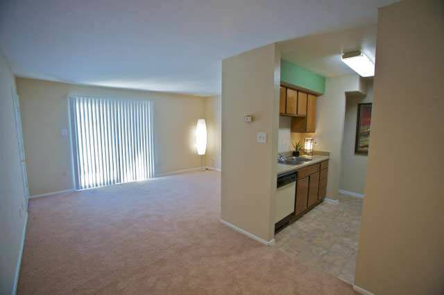 A view of the living room at Applewood Village Apartments