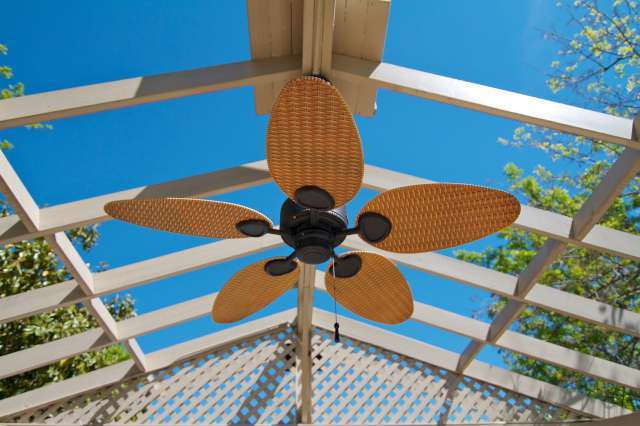 Outdoor ceiling fan at The Preakness Apartments