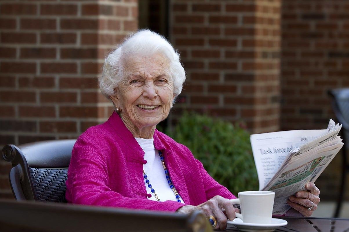 Enjoy A Coffee Outside At Senior Living In Greensboro North Carolina