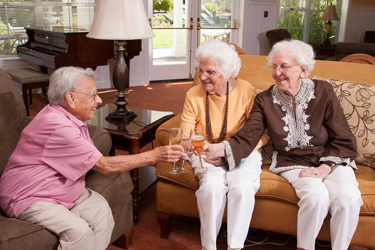 Enjoy a glass of wine with friends at the senior living in Walnut Creek, California