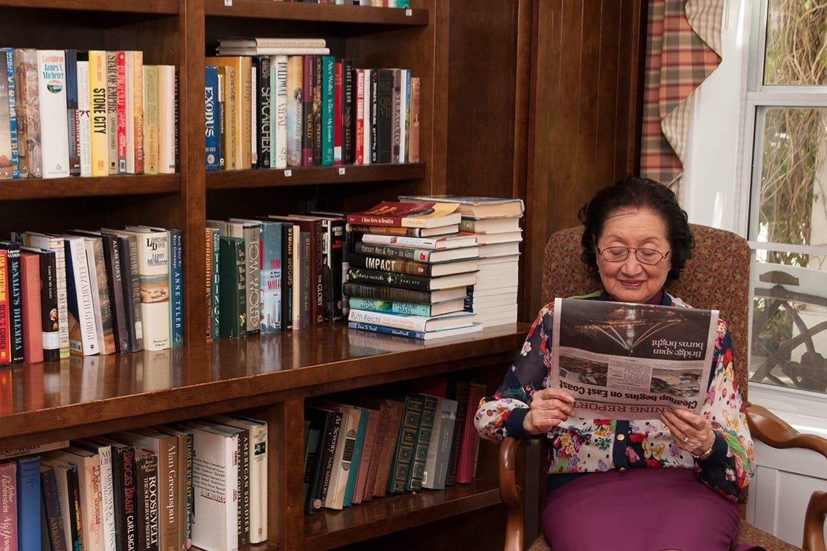 Read in the library at the senior living in Walnut Creek, California