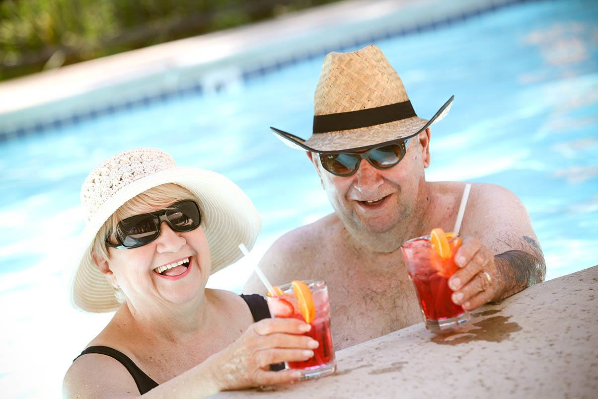 Relaxing by the pool at the senior living in Walnut Creek, California