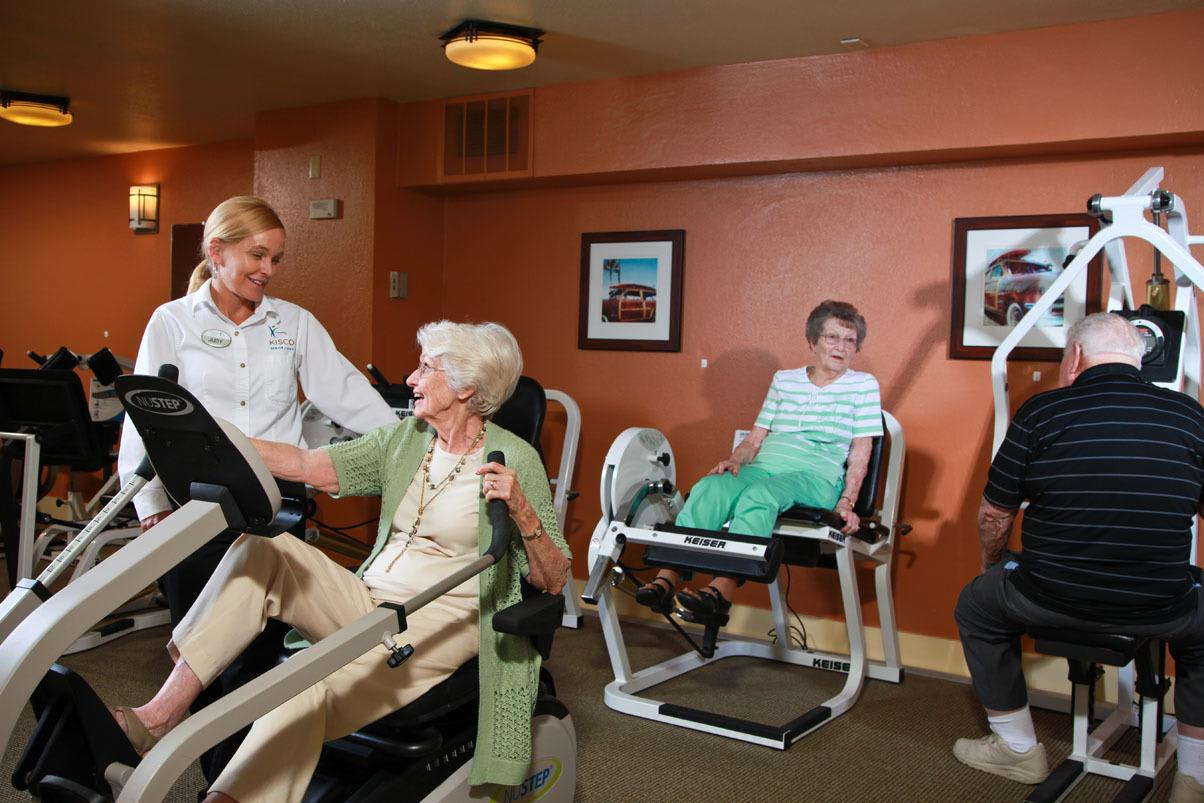 Senior woman getting exercise at Cypress Court
