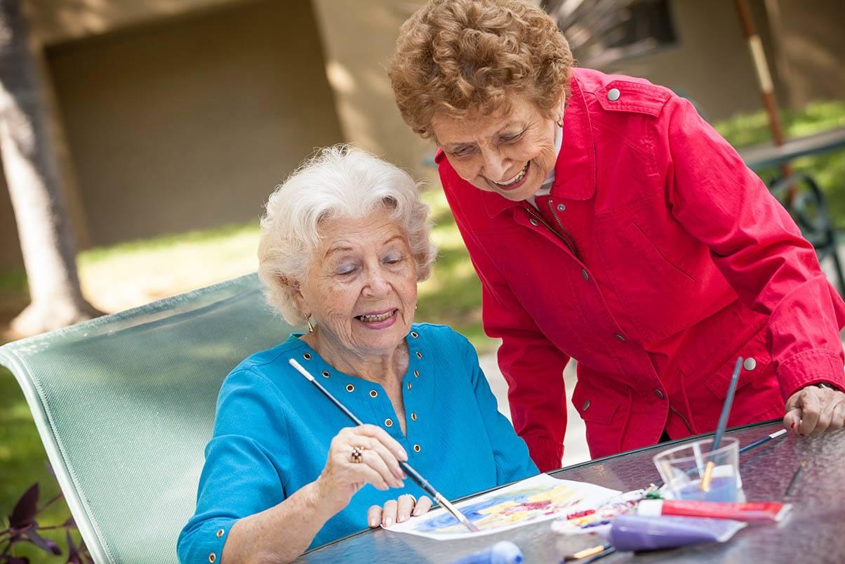 Arts and crafts at the senior living in San Rafael, California