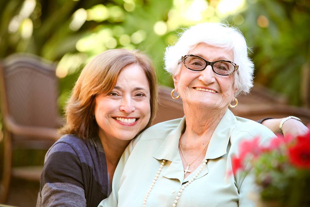 Daughter visiting at the senior living in San Rafael, California