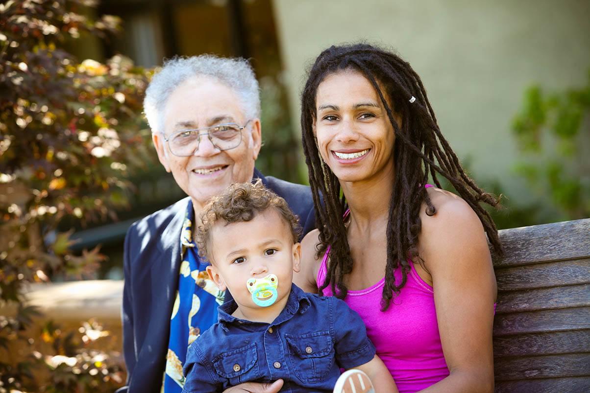 Family visits at the senior living in San Rafael, California