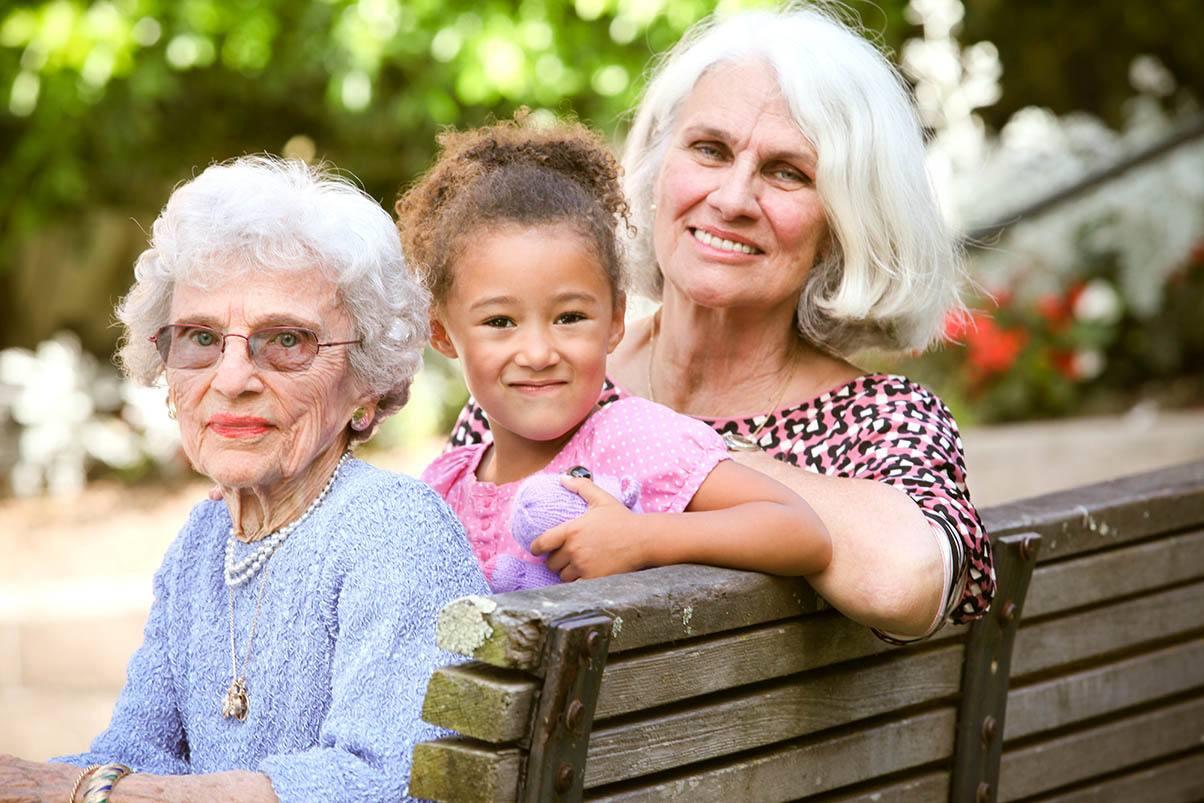 Grandchildren visit at the senior living in San Rafael, California