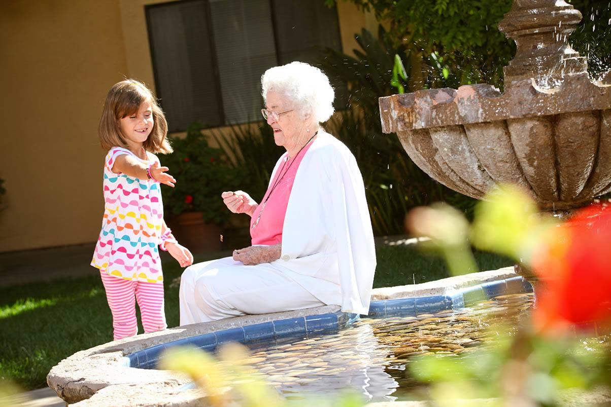 Relaxing in the garden at the senior living in San Rafael, California