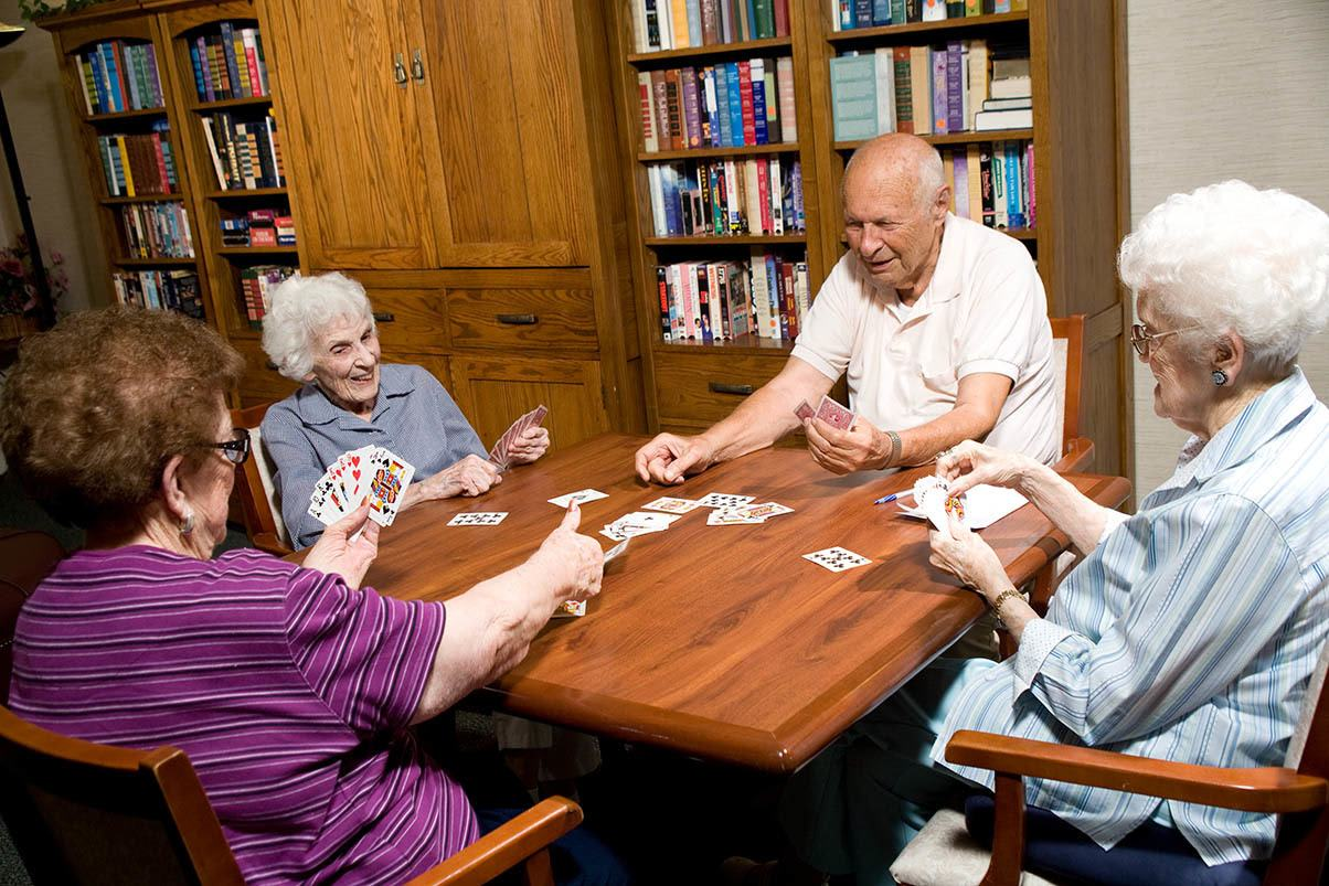 Playing a game of cards at Park Terrace