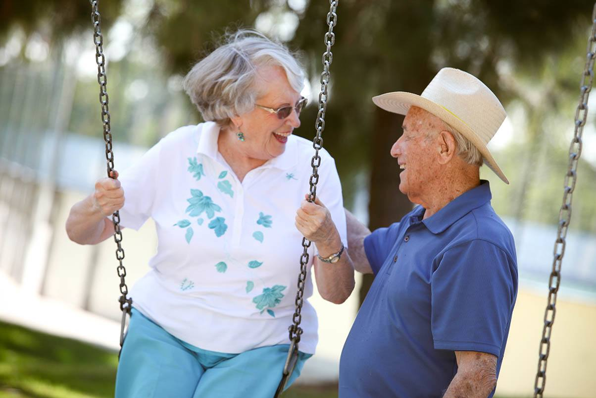 Happy senior couple enjoying some time outside at Park Terrace