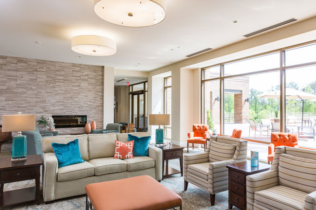 Stylish lounge at senior living in Raleigh