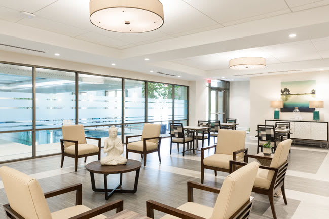 Lounge at senior living in Raleigh