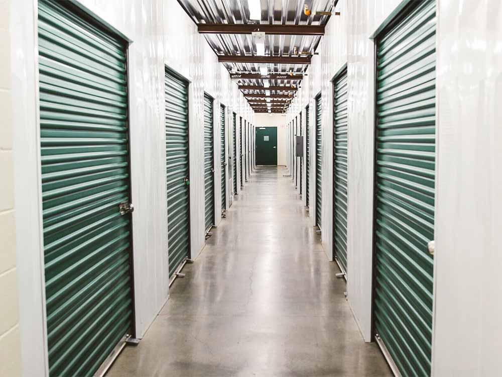Well lit hallways at SoCal Self Storage