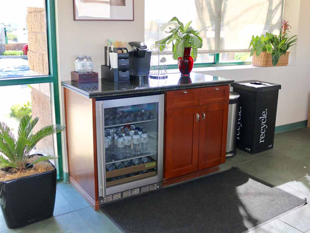 Coffee and water available at SoCal Self Storage