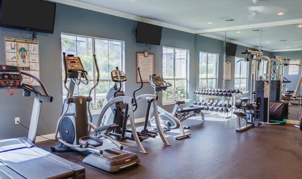 gym at Palms at Clear Lake apartments