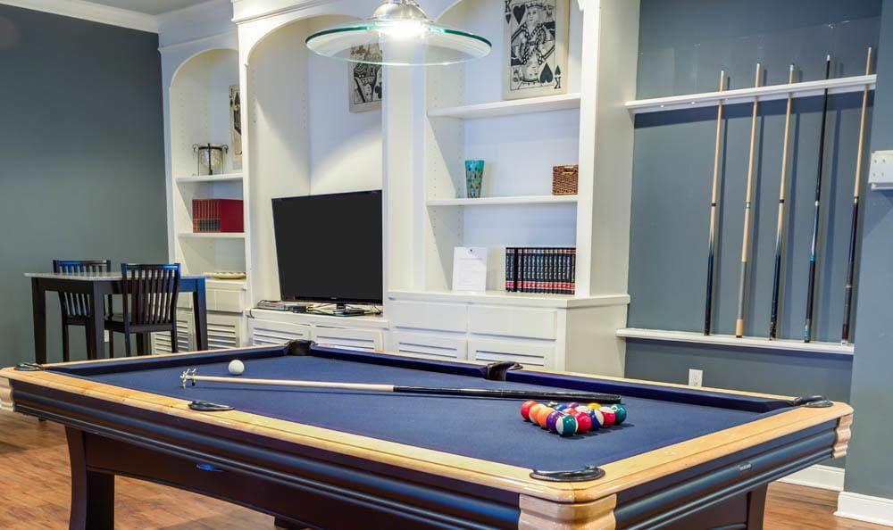 pool table at Palms at Clear Lake apartments