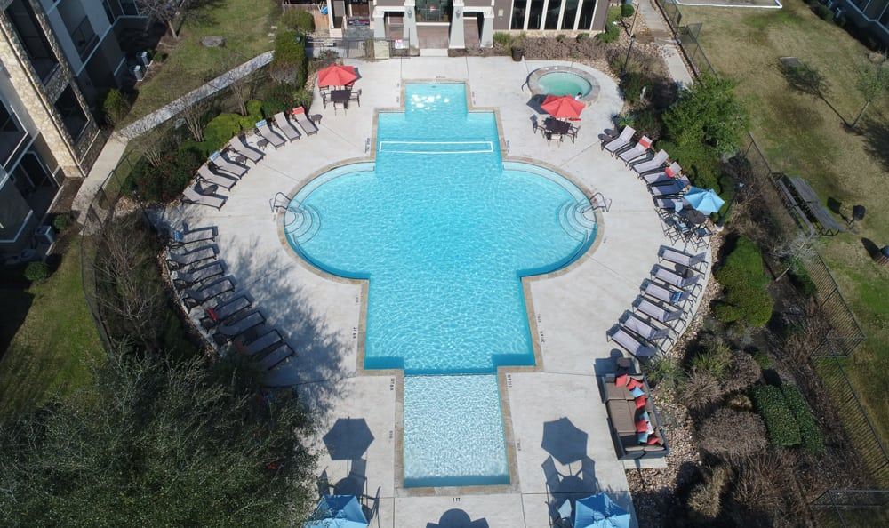 Aerial view of the Presidio Apartments pool in Bryan, TX