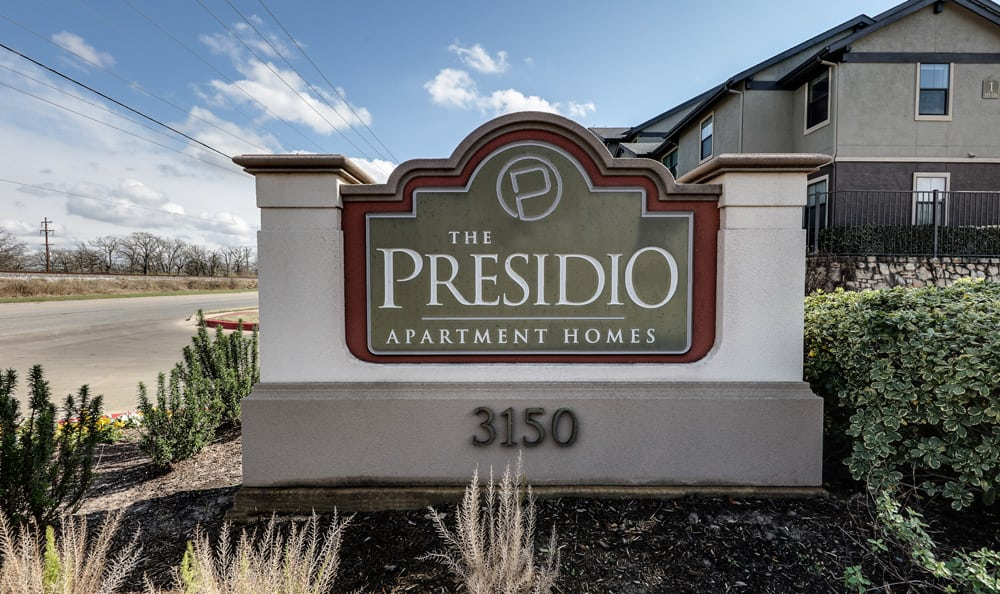 Presidio Apartments Welcome sign in Bryan, TX