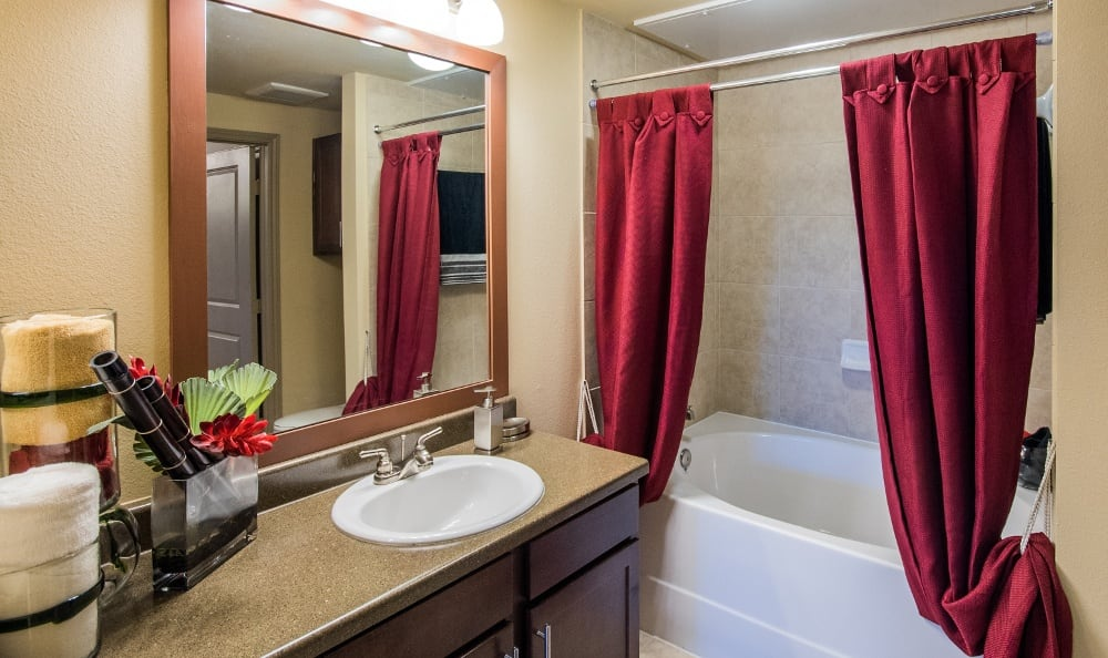 Example Bathroom at Discovery at Rowlett Creek apartments