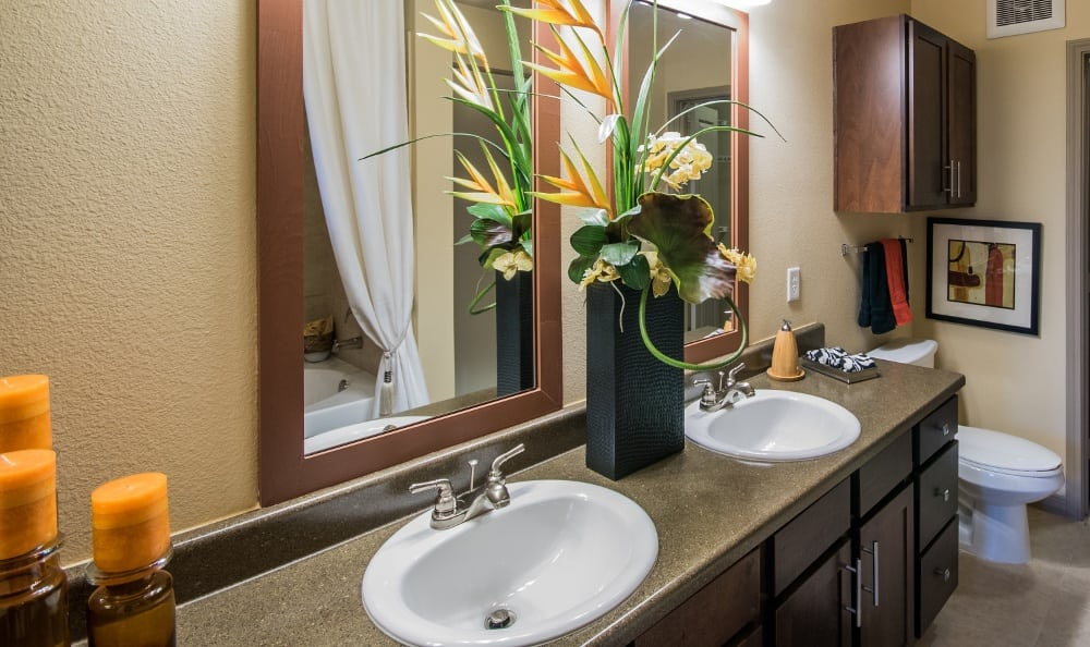 Bathroom with Double Vanity at Discovery at Rowlett Creek apartments