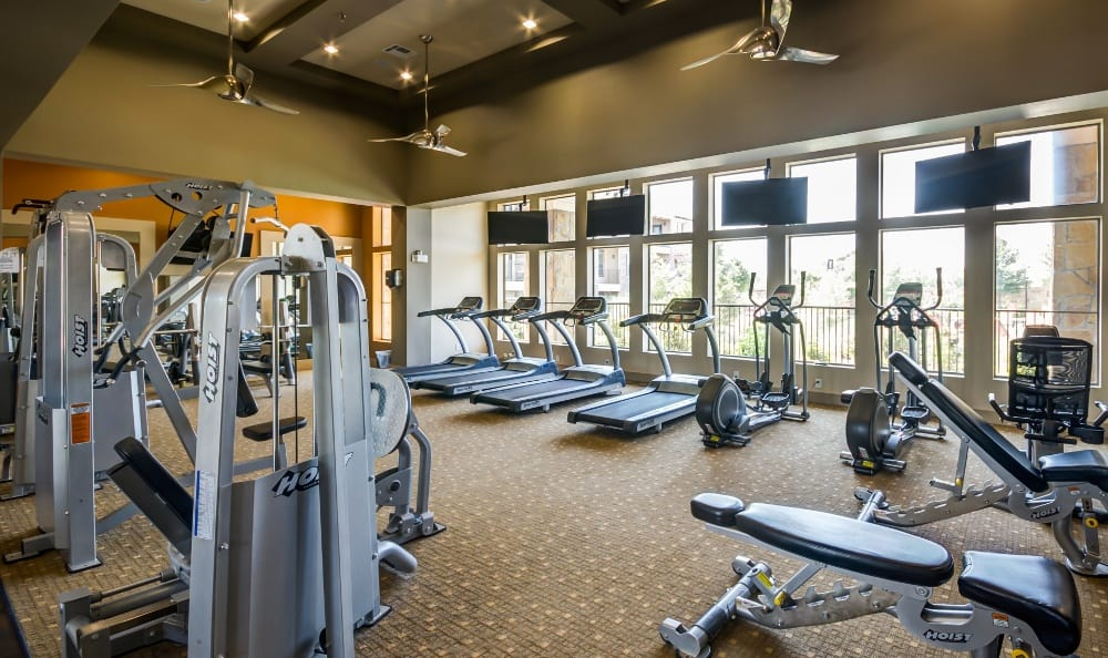 Fitness Center also with Weight Training Equipment at Discovery at Rowlett Creek apartments