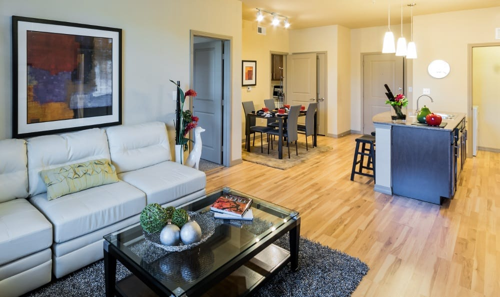 Living Room at Discovery at Rowlett Creek apartments