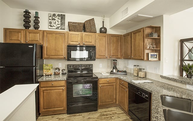 Kitchen With New Appiances In 1 Bedroom Apartments In Humble Texas