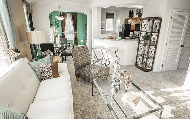 Living Room At 1 Bedroom Apartments In Humble Texas