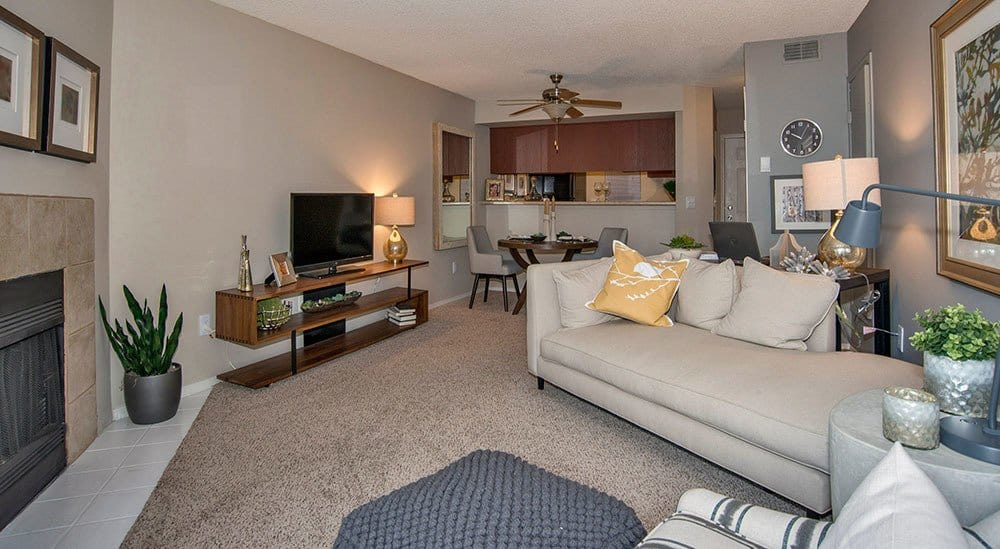 Living room at Advenir at Del Arte apartment for rent