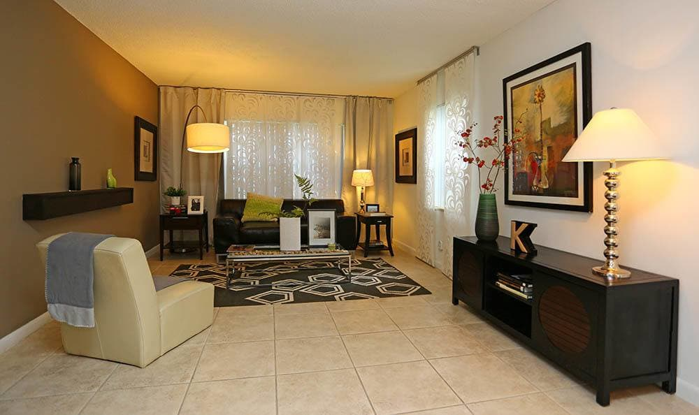 Living room at apartments in Pembroke Pines