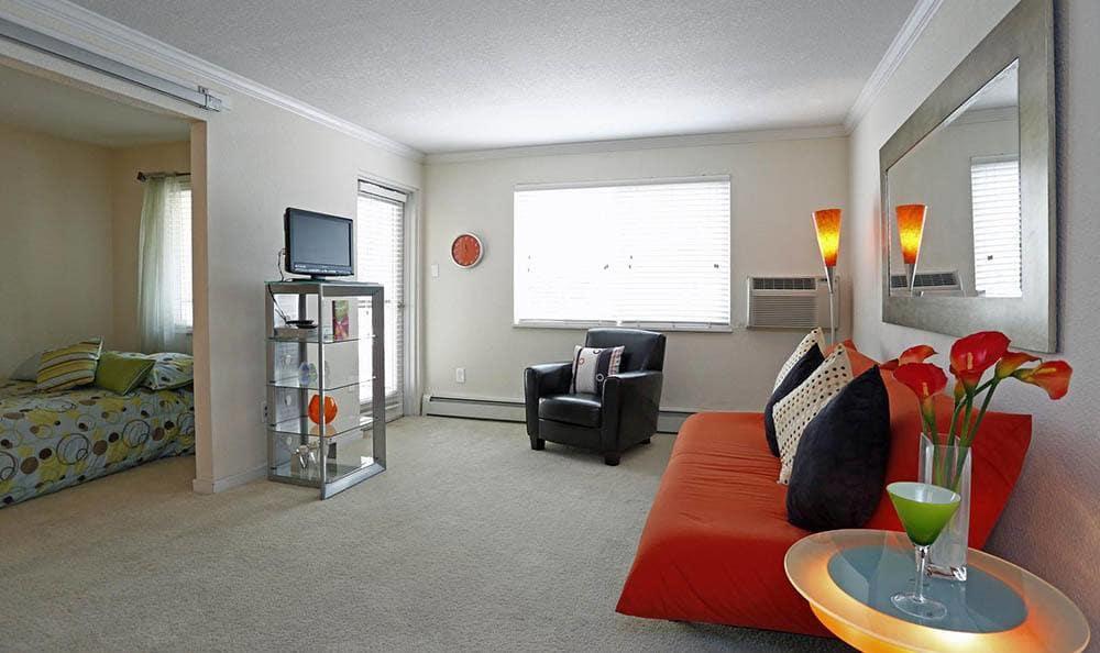 Living room at apartments in Advenir at Stapleton