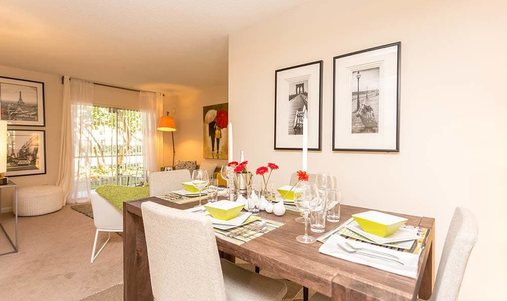 Dining room at apartments in Miami