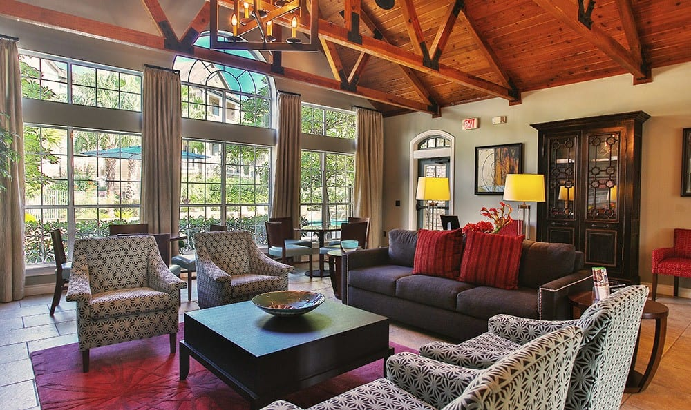 The clubhouse at Advenir At Stone Park in Houston is lavishly appointed with everything you need to entertain large groups