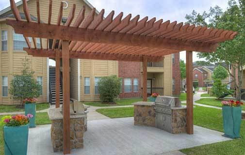 Our wonderful apartment community here at Advenir at The Med Center has a beautiful grilling area.
