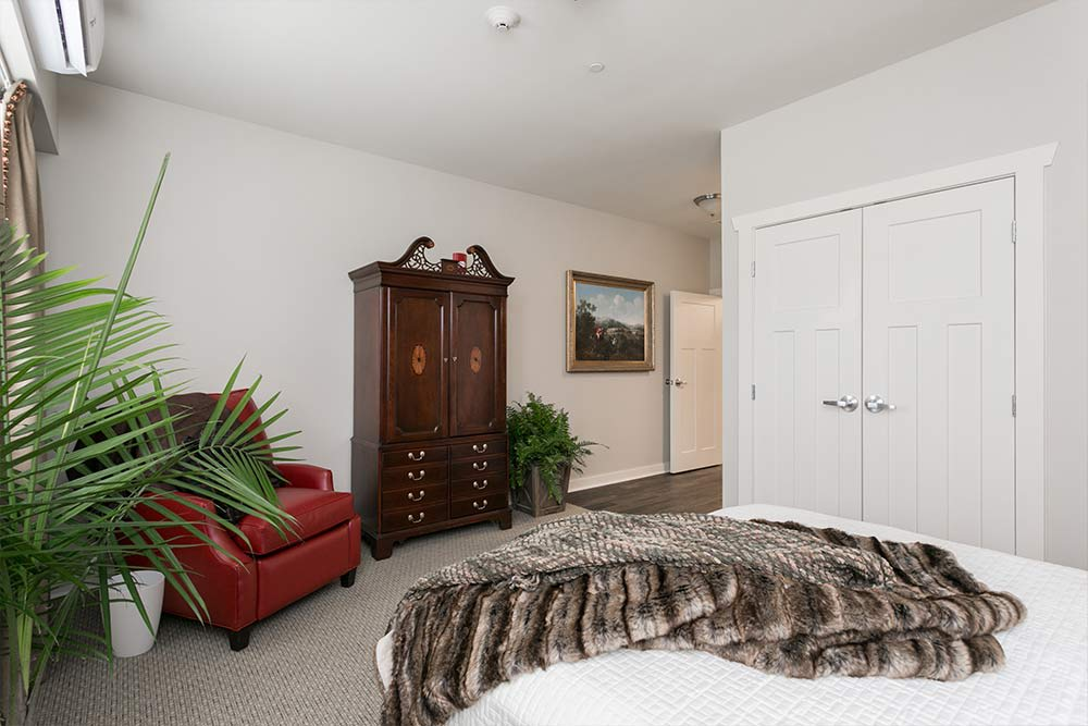 Model bedroom at Westminster Memory Care