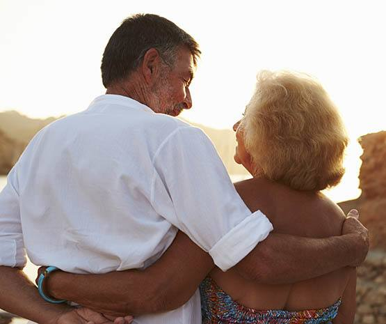 Senior couple enjoying the sunset,