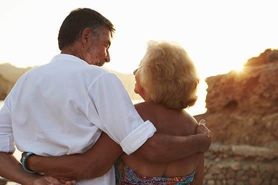 Senior couple enjoying the sunset