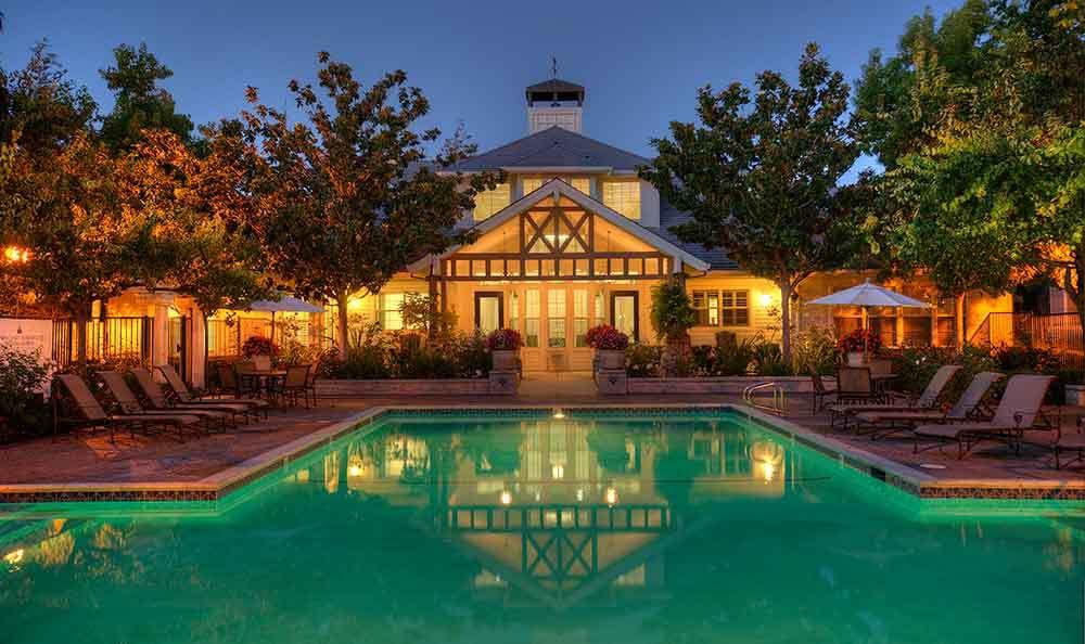 Pool At Night at Nantucket Apartments