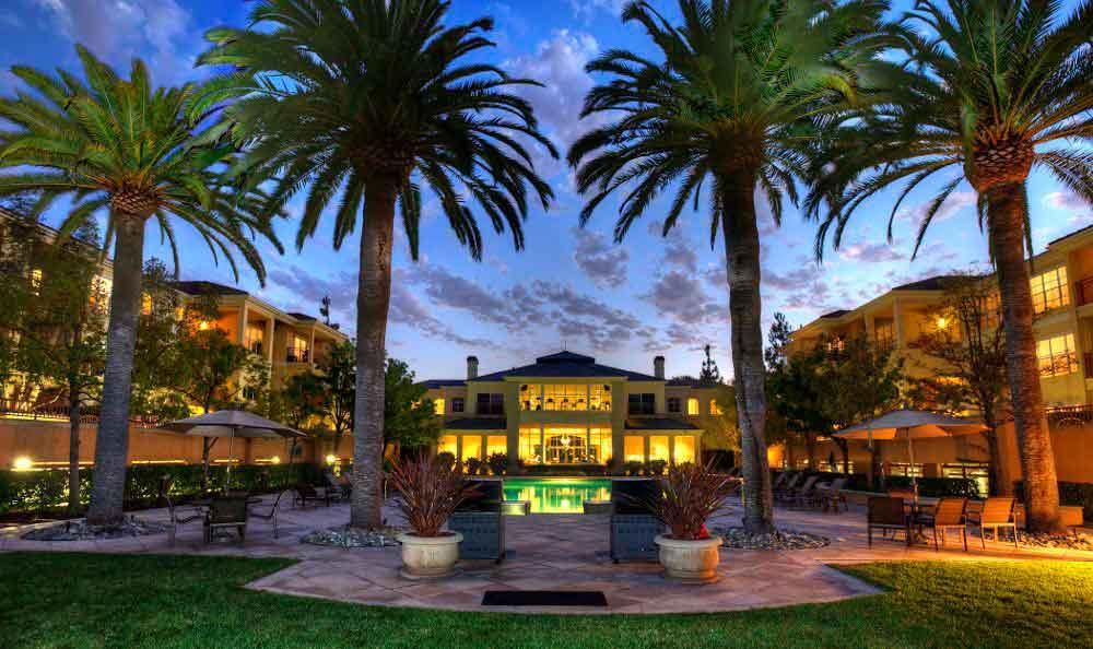 Illuminated Courtyard At Apartments In Santa Clara