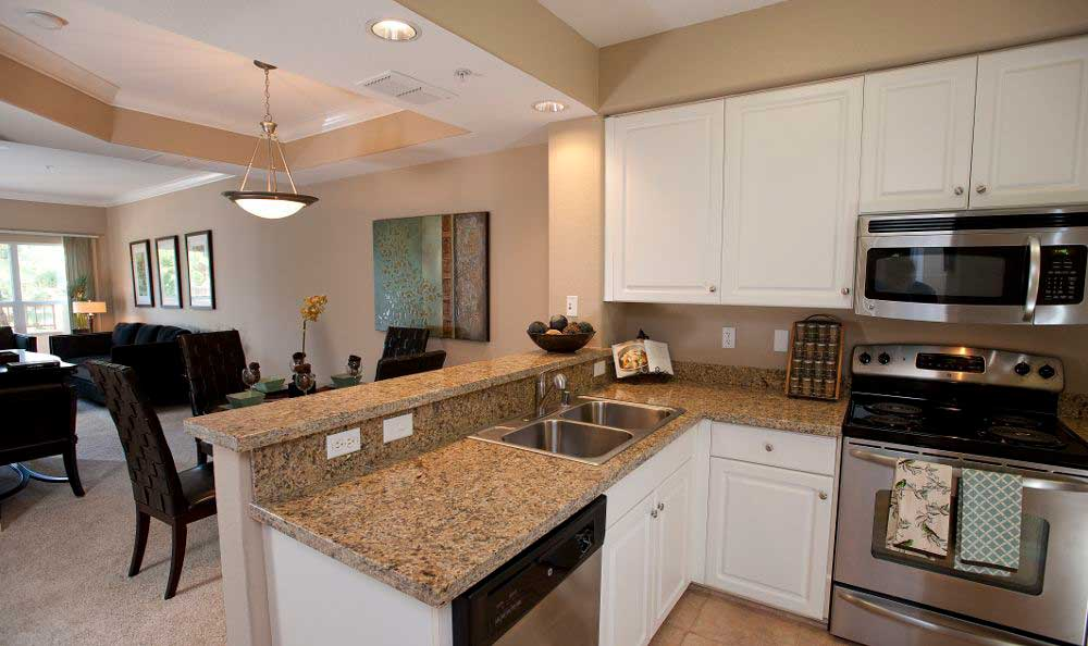 Well Decorated Living Room & Kitchen Combo At Apartments In Santa Clara