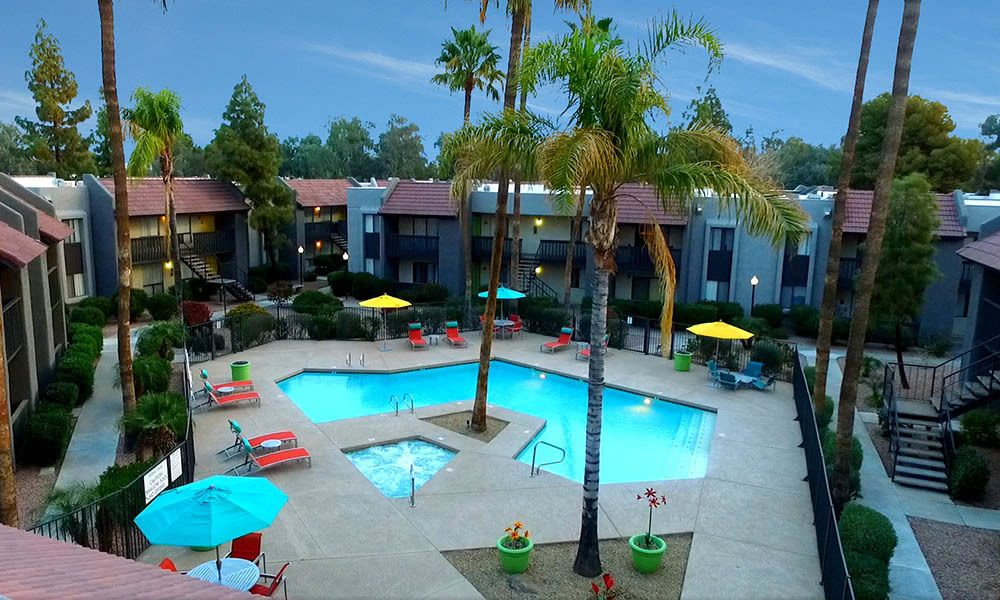 Swimming Pool View at Willow Creek Apartments in Tempe, AZ