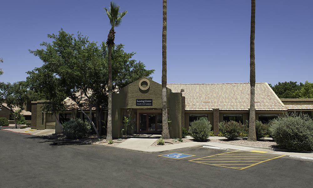 Leasing Office Exterior at Chandler Court Apartments in Chandler, AZ