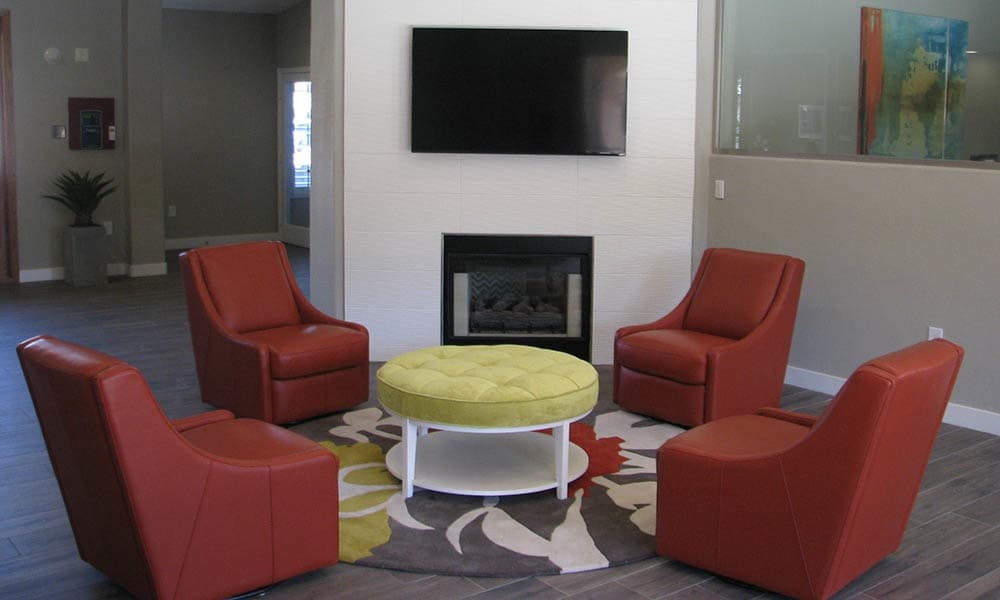 Clubhouse Seating With Fireplace at Ocotillo Bay Apartments in Chandler, AZ
