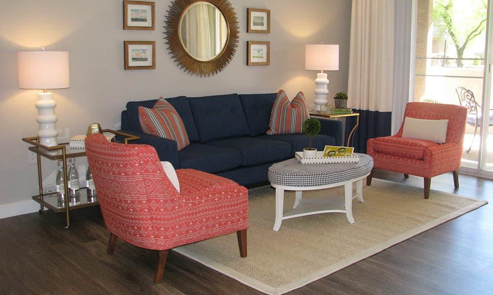 Living Room Furniture at Ocotillo Bay Apartments in Chandler, AZ