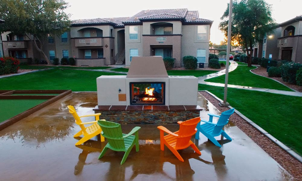 Outdoor Fireplace at Ocotillo Bay Apartments in Chandler, AZ