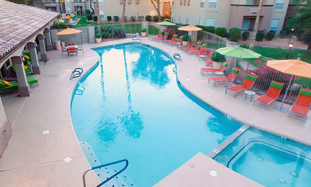 Swimming Pool And Hot Tub at Ocotillo Bay Apartments in Chandler, AZ