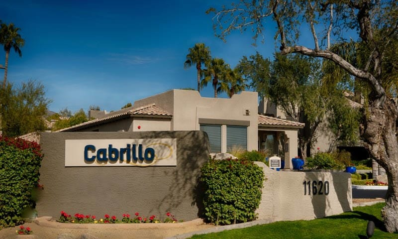 Signage at Cabrillo Apartments in Scottsdale, AZ