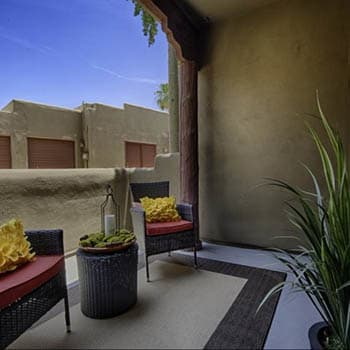 Private patio in Scottsdale at Casa Santa Fe Apartments