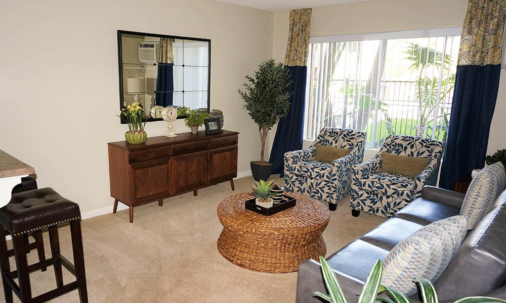 Spacious Living Room at UCE Apartment Homes in Fullerton, CA