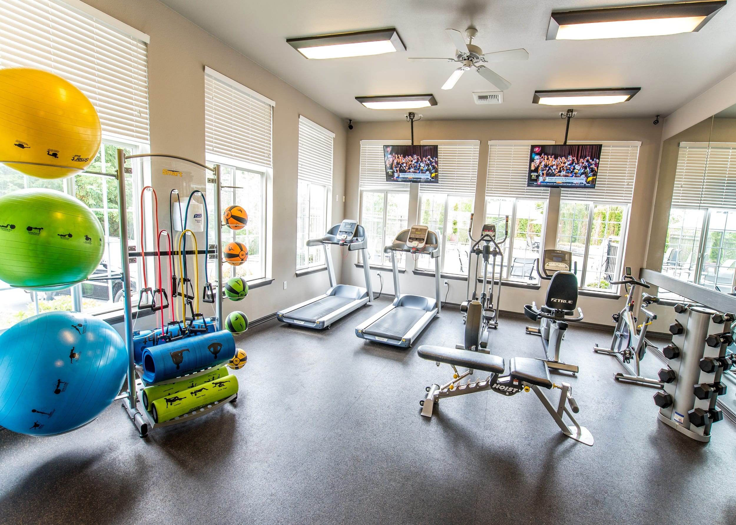 Modern gym with equipment at the apartments in Sammamish